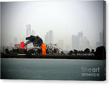 Foggy Day Digital Art Canvas Print - Panama City Panama by Richard Ortolano