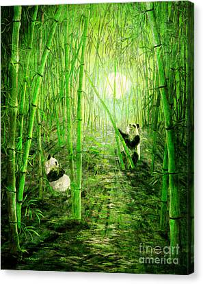 Pandas In Springtime Bamboo Canvas Print by Laura Iverson