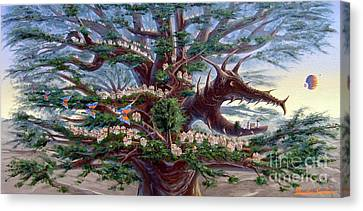 Canvas Print featuring the painting Panoramic Lorn Tree From Arboregal by Dumitru Sandru