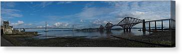 Panoramic Of The Forth Road And Rail Bridges In Scotland. Canvas Print