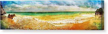 Panoramic Seaside At Tulum Canvas Print by Tammy Wetzel
