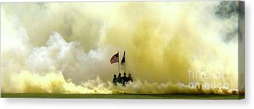 Canvas Print featuring the photograph Panoramic Us Army Graduation by Michael Waters