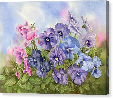 Pansies Canvas Print by Leona Jones
