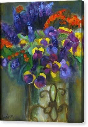 Pansies Canvas Print by Susan Hanlon