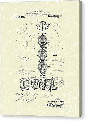 Parachute Attachment For Flying Machines 1919 Patent Art Canvas Print