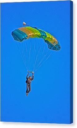 Parachuting Canvas Print by Karol Livote