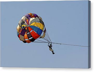 Paraglider Blue Canvas Print by Kantilal Patel