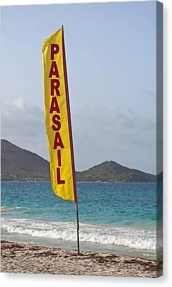 Parasail Beach Flag. Canvas Print by Fernando Barozza