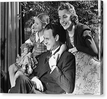 Parents With Daughter (6-7) In Living Room, (b&w) Canvas Print by George Marks
