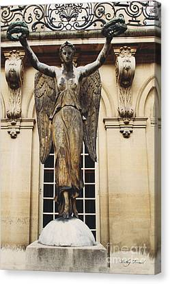 Paris Courtyard Musee Carnavalet Angel Statue - Victory Allegorical Angel Statue Canvas Print by Kathy Fornal
