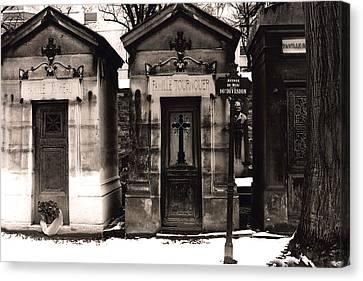 Paris - Pere La Chaise Cemetery Mausoleums Canvas Print by Kathy Fornal
