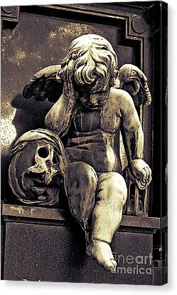 Paris Gothic Angel Cemetery Cherub - Cherub And Skull Pere Lachaise Cemetery Canvas Print by Kathy Fornal