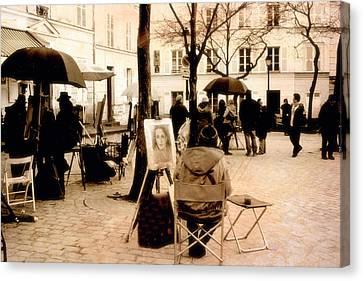 Paris Sepia Vintage Montmartre Artist District - Paris Montmartre Artists  Canvas Print by Kathy Fornal