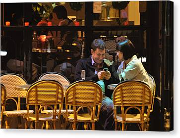 Paris At Night In The Cafe Canvas Print by Mary Machare