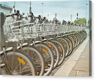 Paris Bikes Canvas Print by Georgia Fowler