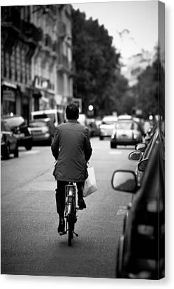 Paris By Bike Canvas Print by Edward Myers