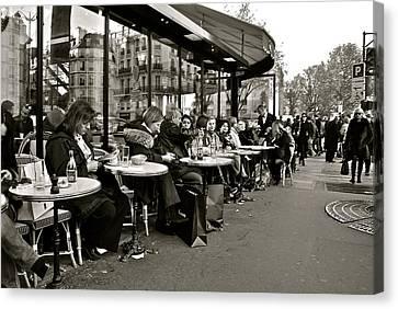 Canvas Print featuring the photograph Paris Cafe by Eric Tressler