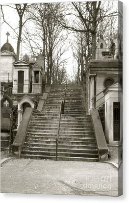 Paris Cemetery Staircase - Pere Lachaise Mausoleum Stairs  Canvas Print by Kathy Fornal
