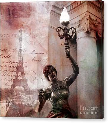 Paris Eiffel Tower Pink Surreal Fantasy Montage Canvas Print by Kathy Fornal