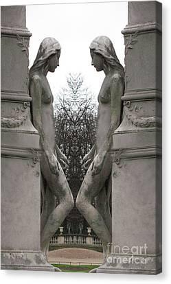 Paris Luxembourg Gardens Female Statues - Paris Sculpture Art Canvas Print by Kathy Fornal