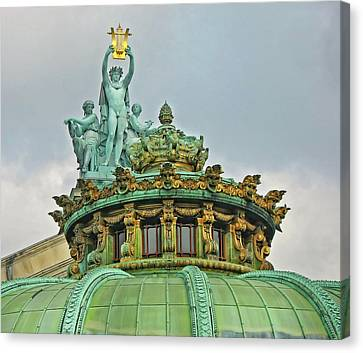 Canvas Print featuring the photograph Paris Opera House Roof by Dave Mills