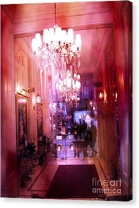 Paris Posh Pink Red Hotel Interior Chandelier Canvas Print by Kathy Fornal