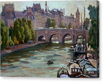 Daily Painter Canvas Print - Paris The Seine And Pont Neuf by Thor Wickstrom