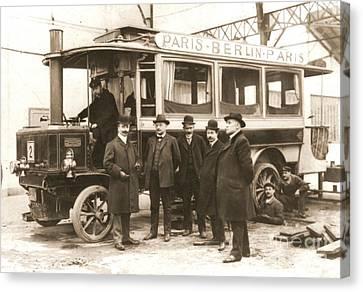 Paris To Berlin Steam Omnibus 1900 Canvas Print by Padre Art