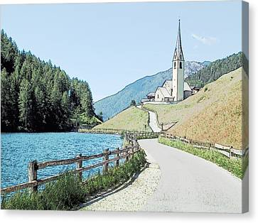 Parish Church St Nicholas Valdurna Italy Canvas Print by Joseph Hendrix