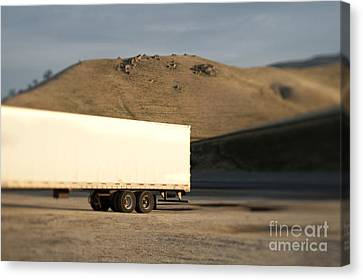Parked Semi Trailer Canvas Print by Eddy Joaquim