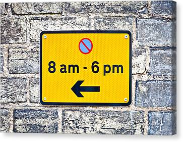 Parking Sign Canvas Print by Tom Gowanlock