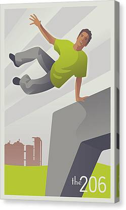 Parkour At Gasworks Park Seattle Canvas Print by Mitch Frey