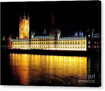 Parliament At Night Canvas Print by Thanh Tran