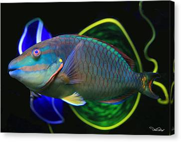 Parrot Fish With Glass Art Canvas Print by David Salter