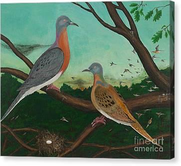 Passenger Pigeon Evening Flight Canvas Print
