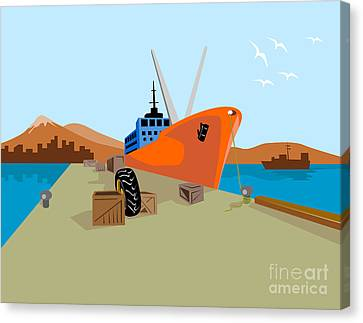 Passenger Ship Ferry Boat Anchor Retro Canvas Print by Aloysius Patrimonio