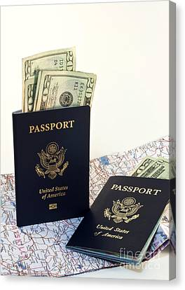 Passports With Map And Money Canvas Print