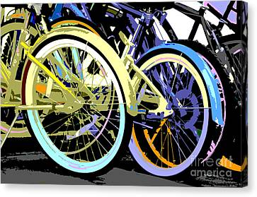 Pastel Bicycle Pop Art Canvas Print by ArtyZen Studios