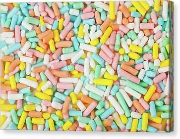 Pastel Birthday Sprinkles - Macro Canvas Print by Nic Taylor