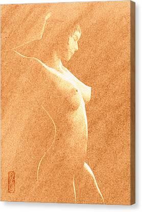 Pastel Chiaroscuro Nude Canvas Print by Hakon Soreide