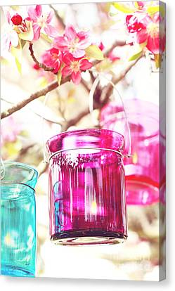 Spring Party Canvas Print - Pastel Colored Candles In A Tree by Stephanie Frey