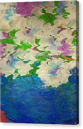 Pastel Flowers And Blue Vase Canvas Print by Anne-Elizabeth Whiteway