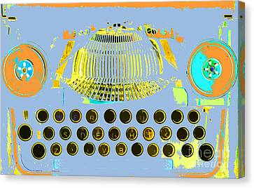 Pastel Pop Typewriter Art Canvas Print by ArtyZen Studios