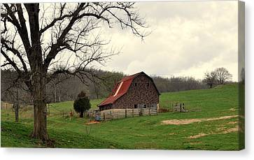 Pasture And Bar  Canvas Print by Marty Koch
