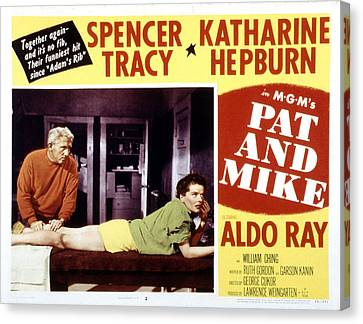 Pat And Mike, Spencer Tracy, Katharine Canvas Print by Everett