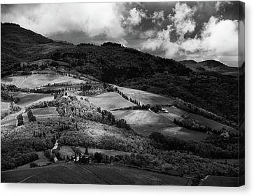 Patches Of Light Over Hills In Chianti, Tuscany Canvas Print
