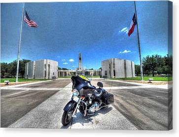 Patriot Guard Rider At The Houston National Cemetery Canvas Print by David Morefield