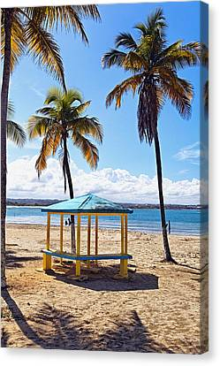 Pavilion On A Beach In Arecibo Canvas Print by George Oze