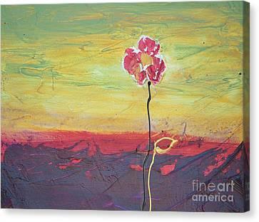 Paw Print Flower Canvas Print by Barbara Tibbets