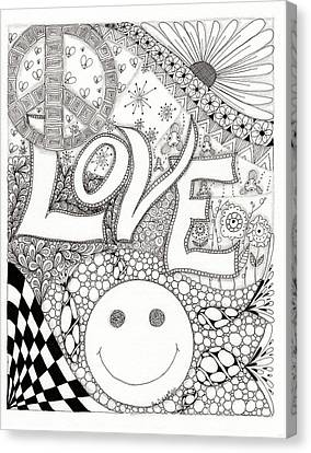 Peace Love And Happiness Canvas Print by Paula Dickerhoff
